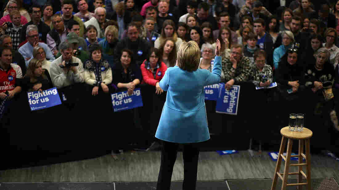 Hillary Clinton speaks at Manchester Community College Monday.