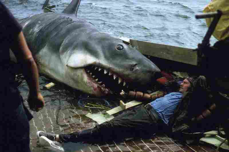 Actor Robert Shaw, who played the shark hunter Quint in JAWS, takes a break from lunch. Rather, from being lunch.