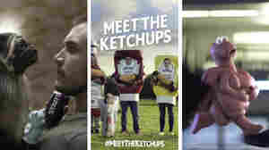 From left to right, Super Bowl ads for Mountain Dew, Heinz, and Xifaxan.