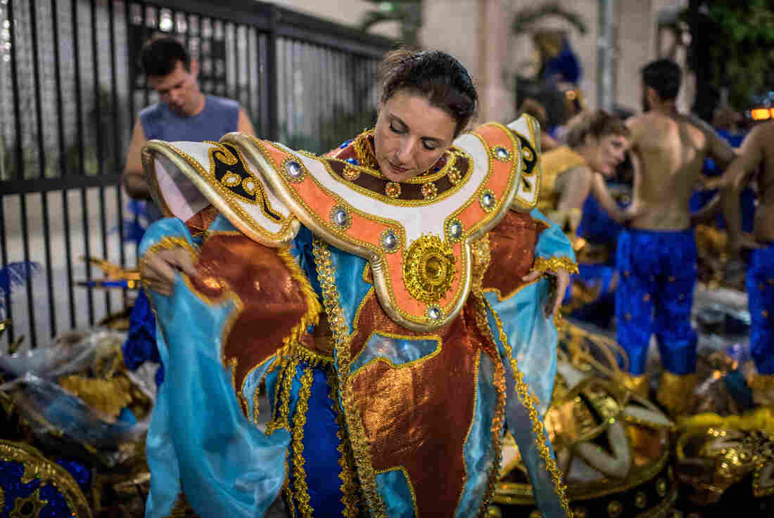 Lourdes Garcia-Navarro prepares for her debut with the Vila Isabel Samba School during Carnival in Rio de Janeiro.