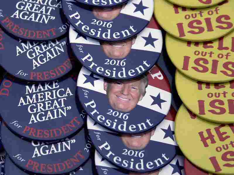 Pro-Donald Trump campaign buttons are displayed for sale at an Elks Lodge in Salem, N.H.