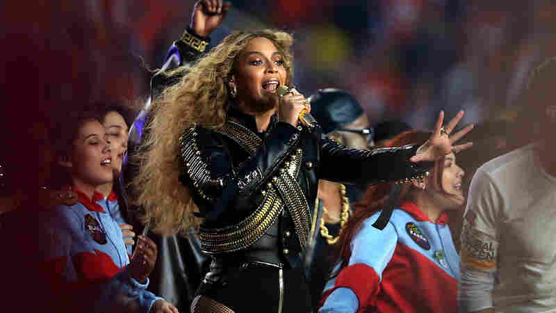 Beyoncé performs at halftime during the Super Bowl on Sunday.