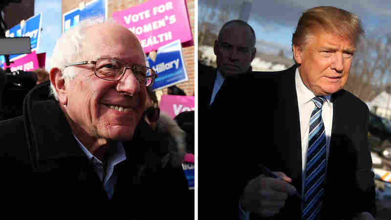 (left) Democratic presidential candidate Bernie Sanders greets voters in Concord, N.H. (right) Republican presidential candidate Donald Trump greets people as he visits a polling station in Manchester, N.H.
