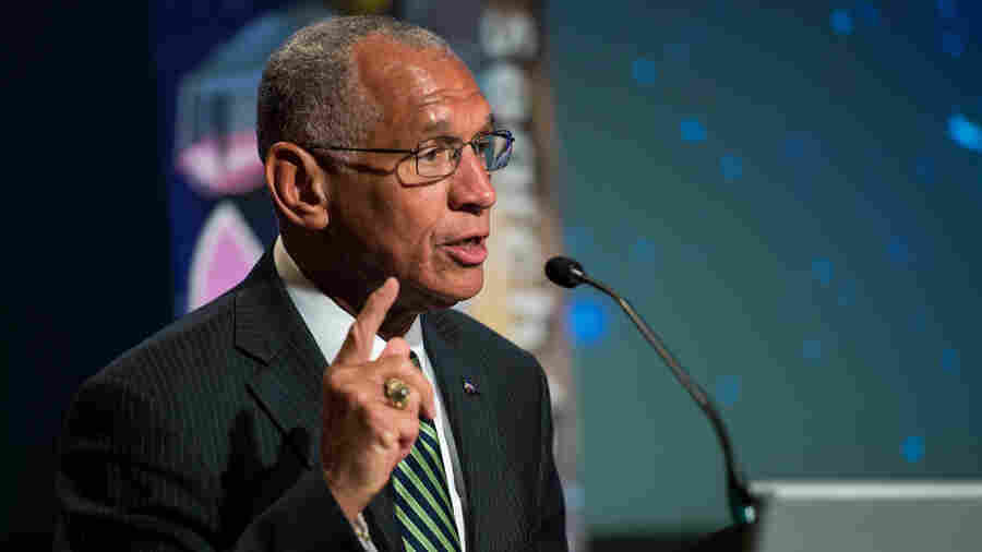 NASA Administrator Charles Bolden delivers opening remarks during a panel discussion at NASA Headquarters in Washington, D.C., in 2014.