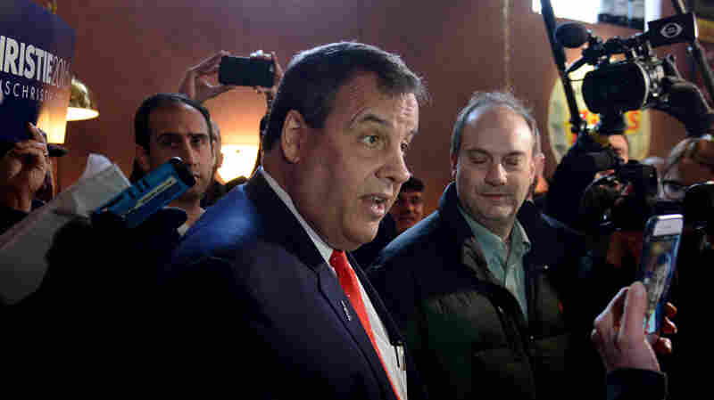 Chris Christie makes a midday stop at T-Bones Great American Eatery in Derry, N.H., as he canvasses for votes on Tuesday.