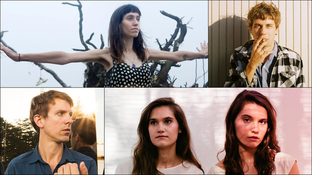 Clockwise from top: Eskimeaux, Kevin Morby, Lily & Madeleine, Jonathan Meiburg of Shearwater (Courtesy of the artists)