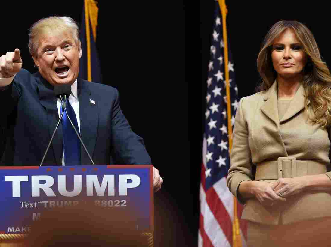 Republican presidential hopeful Donald Trump addresses a Monday rally with his wife, Melania, in Manchester, N.H.