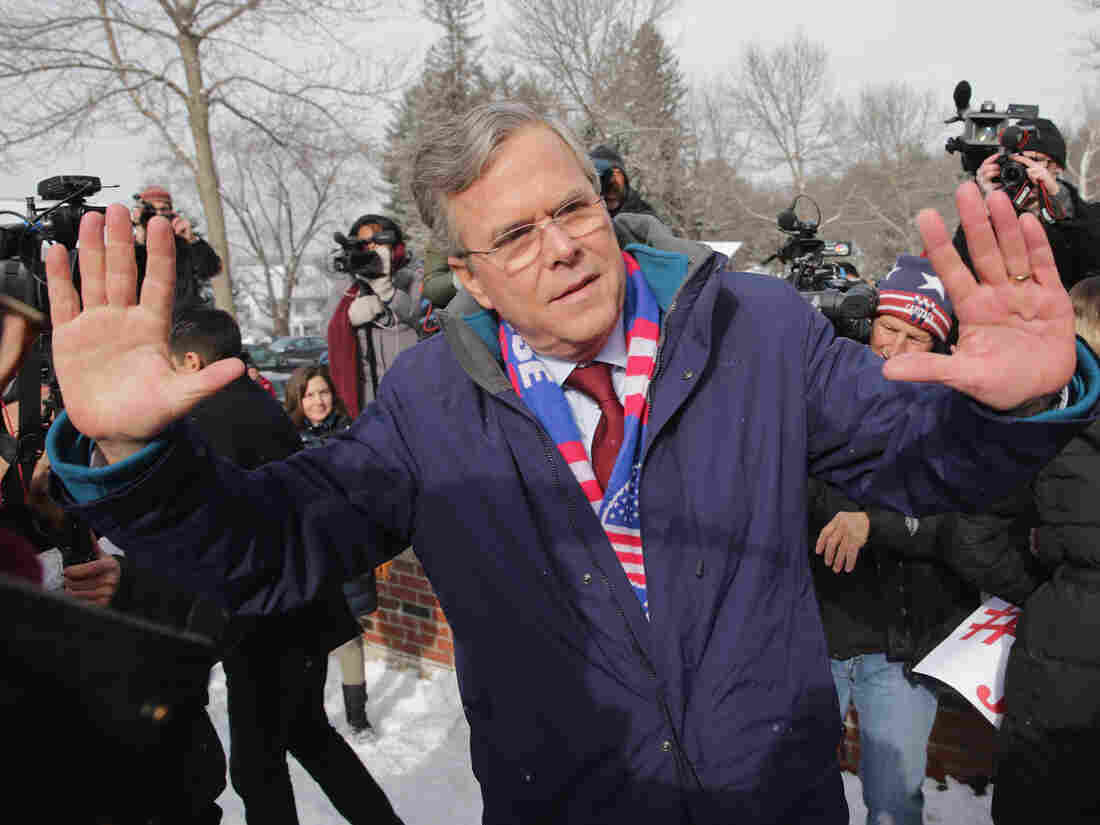 New Hampshire could be Jeb Bush's last stand in the 2016 presidential race. Here, the Republican presidential candidate thanks his supporters Tuesday outside the polling place at Webster School in Manchester, New Hampshire.