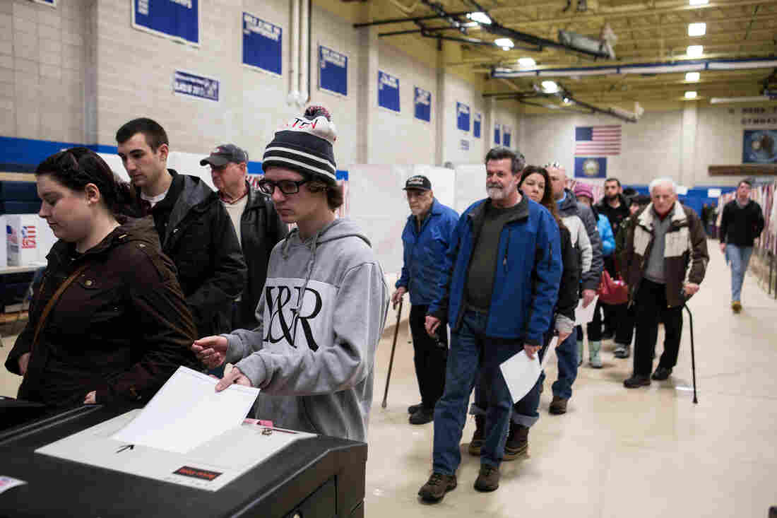Feb. 9, 7:33 p.m. ET. Long lines at Merrimack High School on primary day in Merrimack, N.H.
