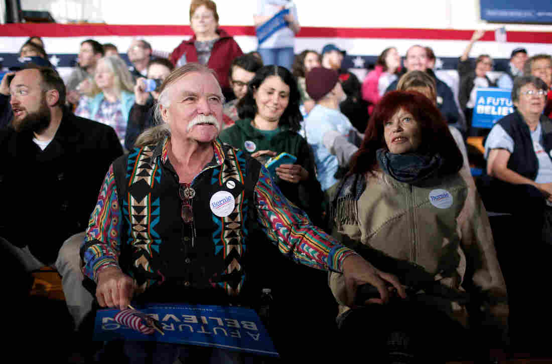 Feb. 9, 8:12 p.m. Bernie Sanders supporters John Gurney and Lisette Lux at the Democratic presidential candidate's New Hampshire Primary night watch party to begin in Concord, N.H.