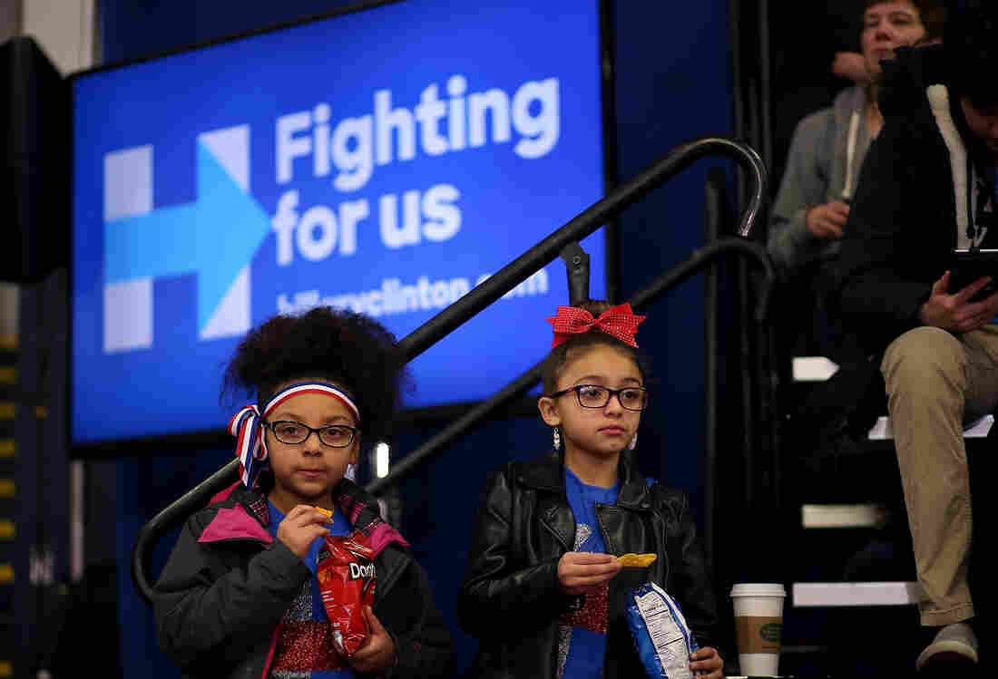 Future voters attend a primary-night gathering for Hillary Clinton at Southern New Hampshire University in Hooksett.