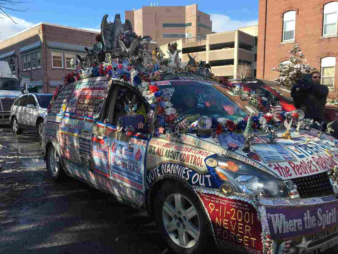 A (clearly detail-oriented) Ted Cruz supporter drove this car to one of his events on Tuesday.
