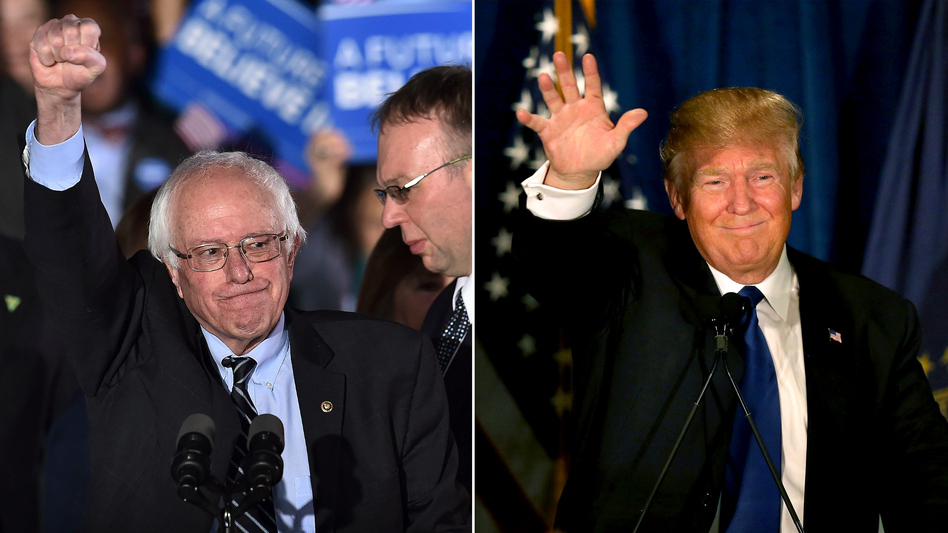 Bernie Sanders and Donald Trump deliver victory speeches at their respective watch parties in New Hampshire. (Jewel Samad/AFP; Joe Raedle/Getty Images)