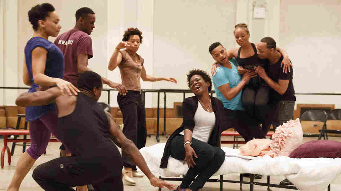 LaChanze (center) rehearses with the company of the 2016 Cabin in the Sky concert series, directed by Ruben Santiago-Hudson.