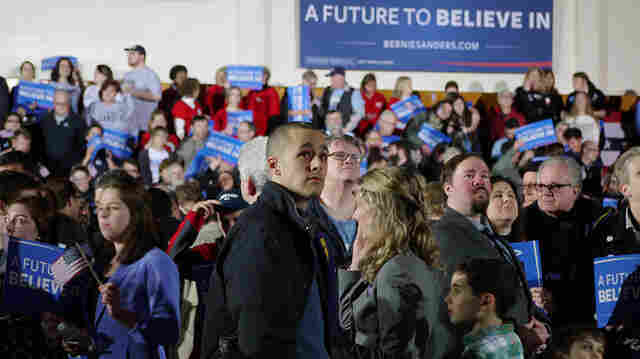 Voters gather at Bernie Sanders' primary night headquarters on Tuesday in New Hampshire.