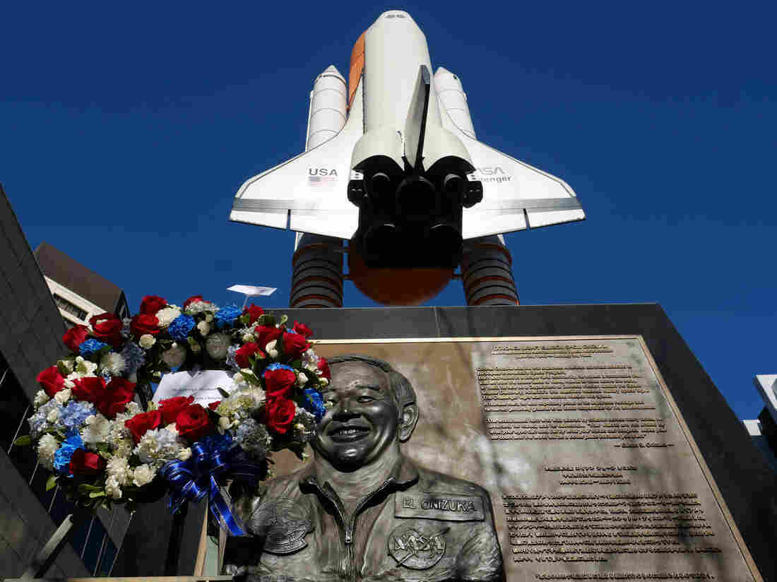 A wreath at a Challenger memorial in Los Angeles marks the 30th anniversary of the disaster that took the lives of the space shuttle's entire crew.
