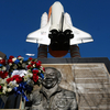 A wreath is left at a space shuttle Challenger memorial in Los Angeles on the 30th anniversary of the shuttle disaster that took the lives of all crew members.