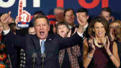 Ohio Gov. John Kasich at his New Hampshire primary night rally. The Republican's second-place finish in New Hampshire has refocused attention on his presidential bid.