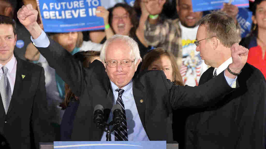 Bernie Sanders, I-Vt., celebrates after his resounding New Hampshire primary victory Tuesday night.