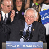 Democratic presidential candidate, Vermont Sen. Bernie Sanders, smiles as he speaks at his primary night rally Tuesday in Concord, N.H.