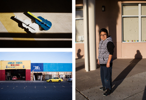 Clockwise from top left: Two cardboard violins lay on the ground; 11-year-old Carlos Garcia poses for a portrait; Downer is in a predominantly low-income district.