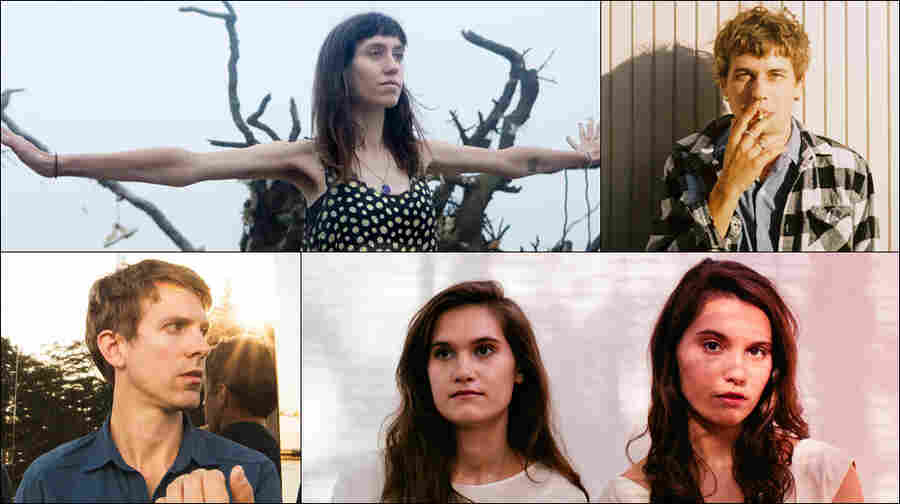 Clockwise from top: Eskimeaux, Kevin Morby, Lily & Madeleine, Jonathan Meiburg of Shearwater