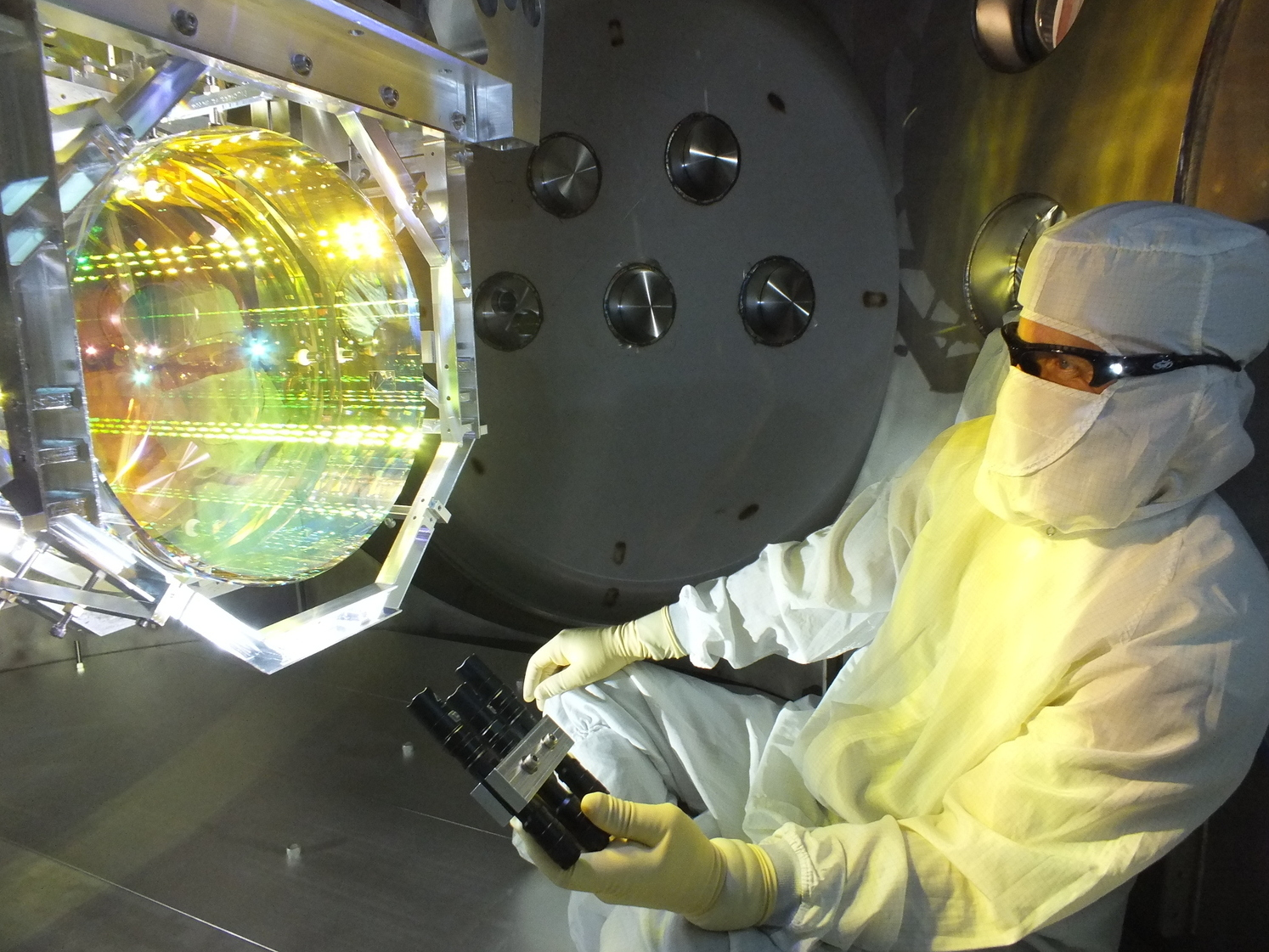 The gravity-wave detector bounces lasers off of high-precision mirrors to measure tiny changes in length.