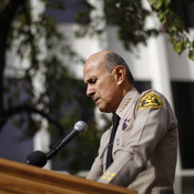 Los Angeles County Sheriff Lee Baca announces his unexpected retirement on Jan. 7, 2014, in Los Angeles.