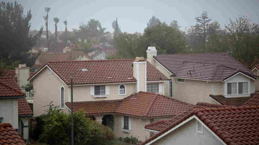 A neighborhood where many people have left their homes because of a massive natural-gas leak is seen in the Porter Ranch neighborhood of Los Angeles in December.