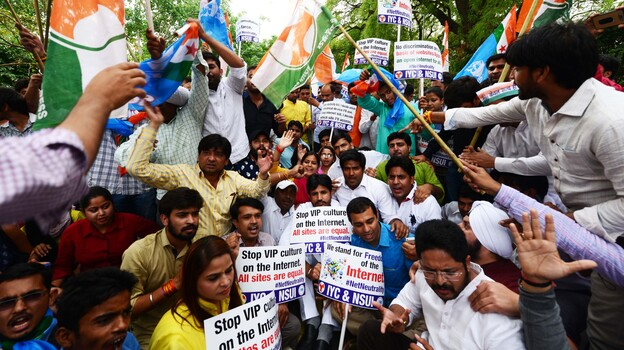 Members of Indian Youth Congress — a wing of the National Congress party — and National Students Union of India protest for Internet freedom in April 2015 in New Delhi. (Hindustan Times via Getty Images)