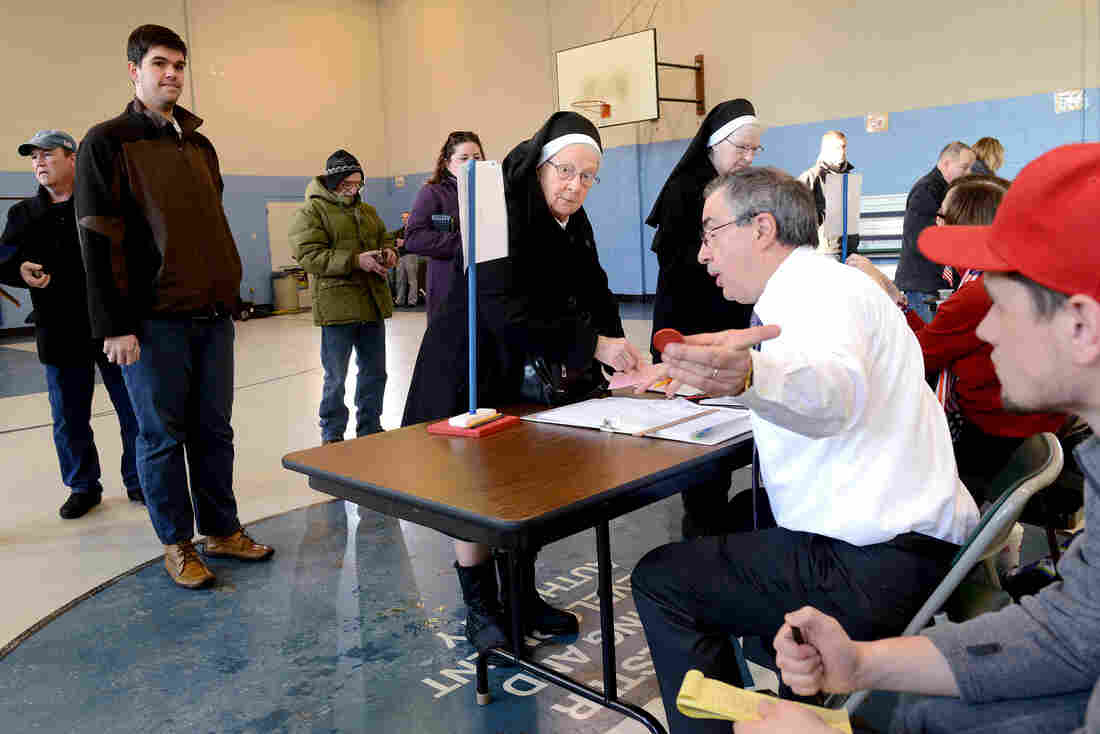 Voters cast their ballots at the Bishop Leo E. O'Neil Youth Center in Manchester.