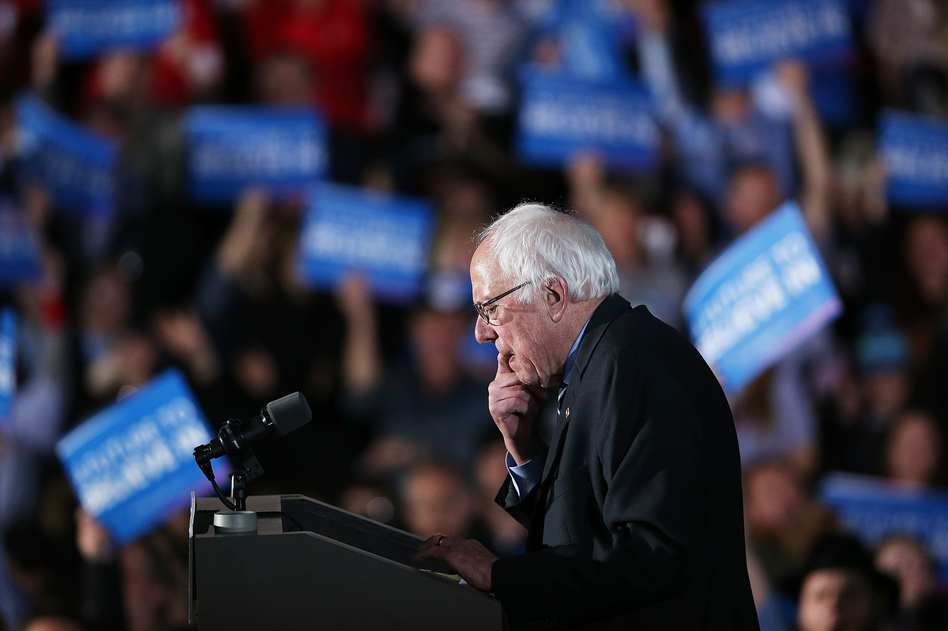 Sen. Bernie Sanders speaks on stage in Concord after declaring victory over Hillary Clinton.