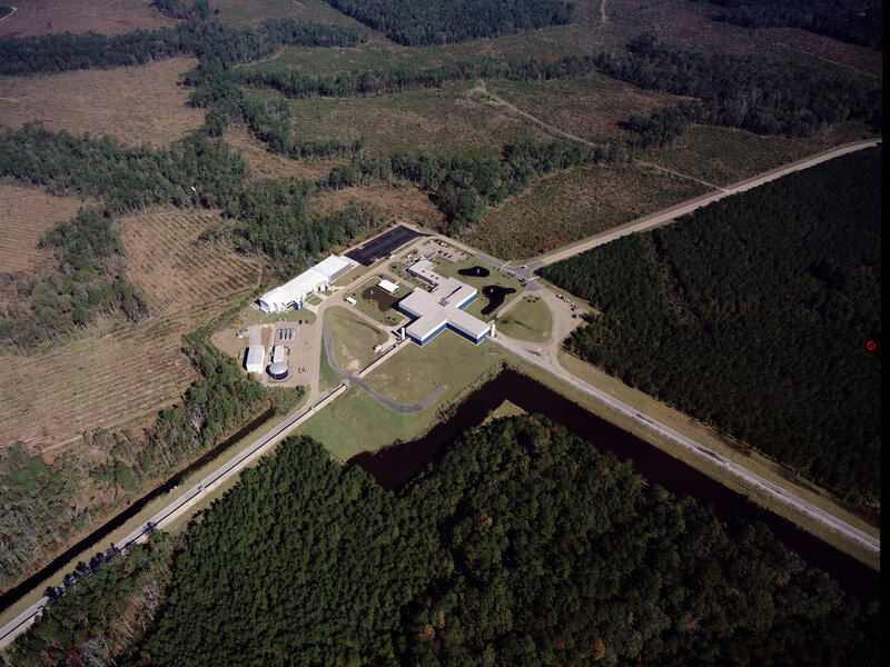 The Laser Interferometer Gravity-Wave Observatory measures tiny changes in the lengths of each of its 2.5-mile-long arms. The arms stretch and squeeze as gravity waves pass by.