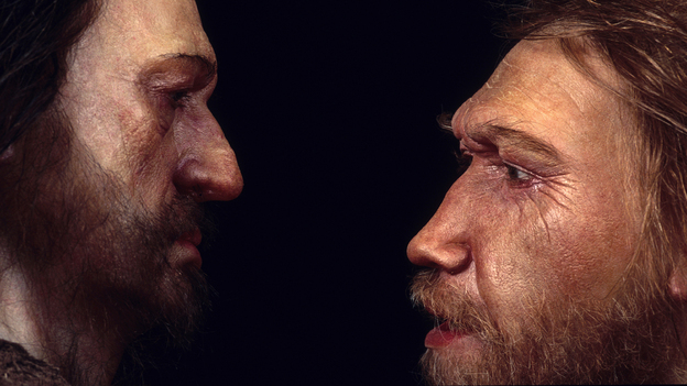 A reconstruction of a Neanderthal man (right) based on skull found at the La Ferrassie rock shelter in Dordogne Valley, France. He's face to face with a male Homo sapien. (Philippe Plailly & Atelier Daynes/Science Source)