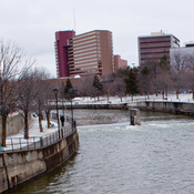 The Flint River is pictured in downtown Flint, Mich., on Feb. 4. The city's water problems began when it switched to using the Flint River for its supply in 2014. They were exacerbated by government officials' failure to disclose and stop the leaching of lead and other toxins into the water.