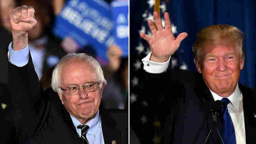 Bernie Sanders and Donald Trump deliver their victory speeches in New Hampshire.
