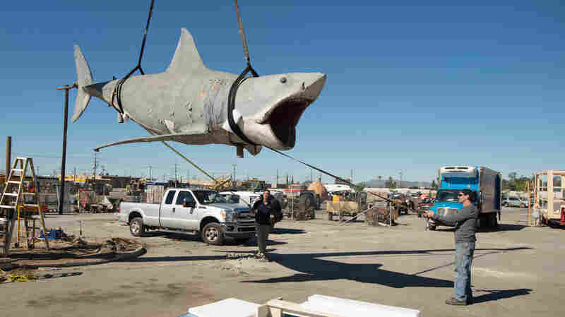 """Workers """"sling"""" the last remaining shark cast from the original Jaws mold and lift it, by crane, to a nearby crate. After spending more than 25 years at a Los Angeles junkyard, """"Bruce"""" is headed for a museum."""