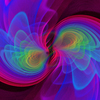 A simulation shows gravitational waves coming from two black holes as they spiral in together.