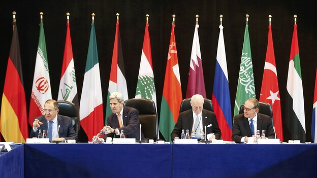 Russian Foreign Minister Sergey Lavrov (left) and Secretary of State John Kerry (second from left) attend the International Syria Support Group meeting in Munich, Germany, on Thursday along with members of the Syrian opposition and other officials. (AP)