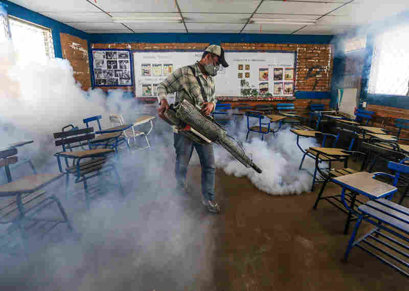 In this Jan. 28, 2016 photo, a Health Ministry worker fumigates insecticide inside a classroom to combat Aedes aegypti mosquitoes that transmit the Zika virus in Managua, Nicaragua. Worries about the rapid spread of Zika through the hemisphere has prompted officials several Latin American countries to suggest women stop getting pregnant until the crisis has passed.