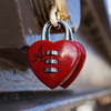 "Valentine's Day in New York: a ""love lock"" on the Brooklyn Bridge."