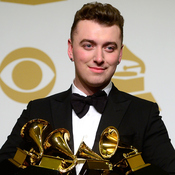 Singer-songwriter Sam Smith, winner of Record of the Year and Song of the Year, Best Pop Vocal Album and Best New Artist, poses in the press room during the Grammy Awards in 2015.
