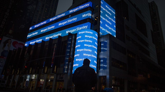 Morgan Stanley's Times Square headquarters in New York City. (Bloomberg via Getty Images)