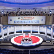 Final touches to the stage for Thursday's Democratic debate in Milwaukee.