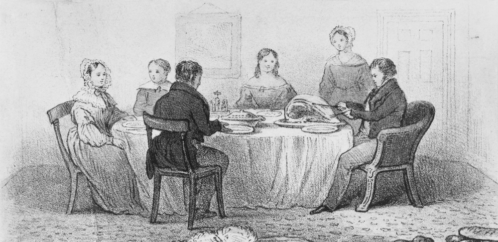 A middle-class Victorian family at the dinner table, circa 1850. Victorian parents used family meal times to educate their children on religion, conversation and table manners.