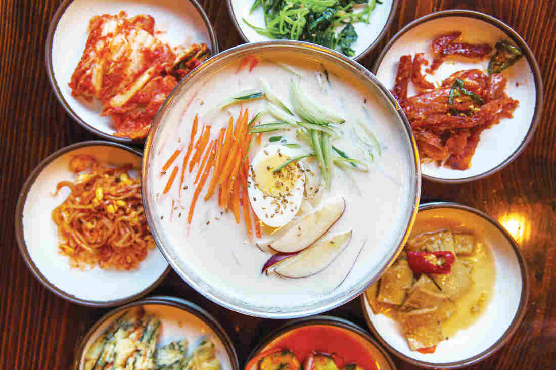 In their cookbook, Rodbard and Hong intentionally focused more on soups and stews, which they call the heart of Korean cooking. Above, a bowl of kongguksu, a cold soup traditionally served in the summertime and made with soy milk, thin somen wheat noodles and pine nuts.