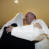 The head of the Russian Orthodox Church Patriarch Kirill (left) kisses Pope Francis as they meet at the Jose Marti airport in Havana, Cuba, on Friday.