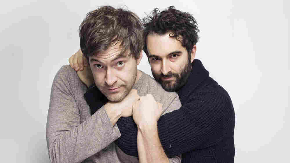 Mark, left, and Jay Duplass pose at the Sundance Film Festival in Park City, Utah.