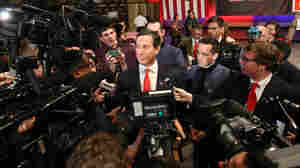"Then-presidential candidate Rick Santorum speaks to reporters in the spin room Jan. 14 after the ""undercard"" portion of the Fox Business Network Republican presidential debate in South Carolina."