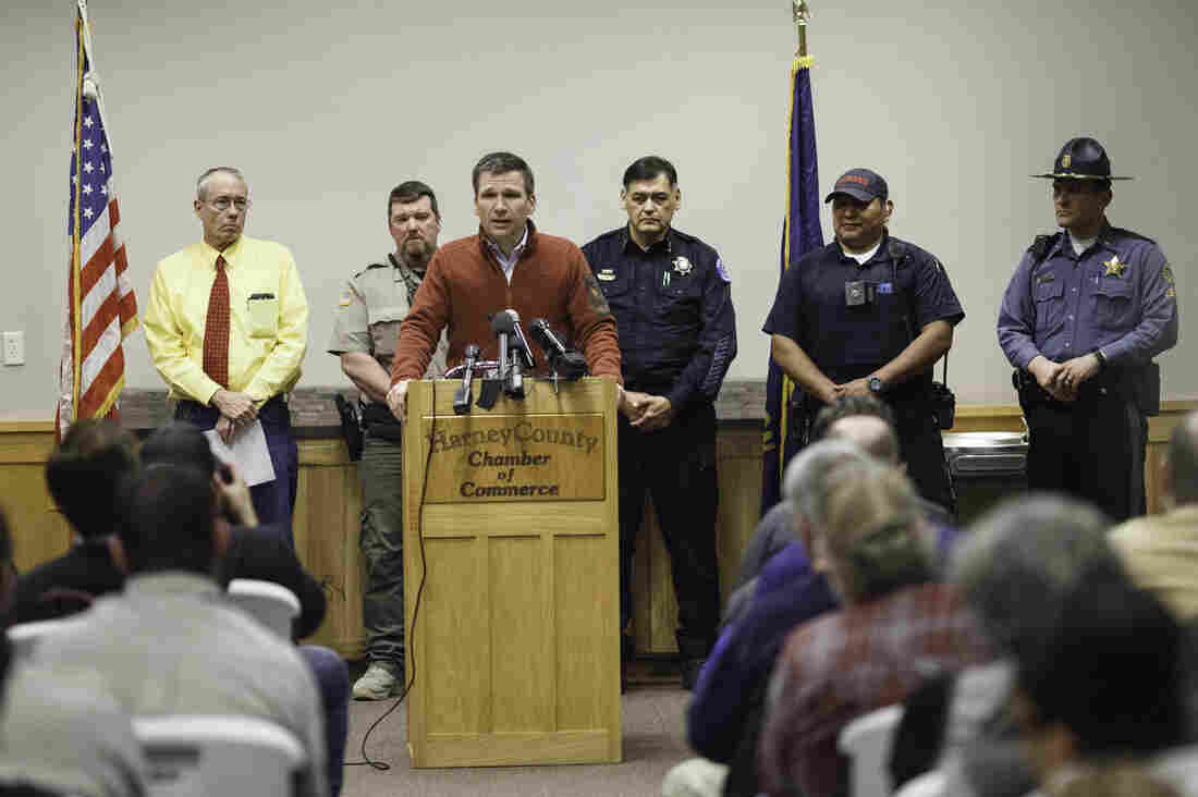 FBI Special Agent Greg Bretzing addresses the public at the Harney County Chamber of Commerce in Burns, Ore., on Thursday after the last four armed occupiers of a wildlife refuge turned themselves in. It ended a tense 41-day standoff over grazing rights on federal land that left one dead.